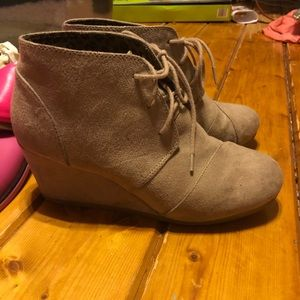 Shoes - Faux suede lace up wedge booties